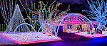 Stock photo of a House decorated with colorful Christmas lights shining at night Xmas holiday decoration Thornhill Canada 2007 Panoramic photo