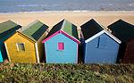 Colourful beach huts, Southwold, Suffolk, England