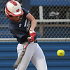 Cassandra Smith #20 of Center Moriches connects for a solo home run in the top of the fifth inning of the Long Island Senior All-Star softball game at Hofstra University on Tuesday, June 5, 2018.