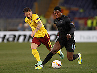 Calcio, Europa League: Lazio vs Sparta Praga. Roma, stadio Olimpico, 17 marzo 2016.<br /> Lazio&rsquo;s Keita Balde Diao, left, is challenged by Sparta Praha's Lukas Vacha during the round of 16 second leg soccer match between Lazio and Sparta Praha, at Rome's Olympic Stadium, 17 March 2016. Sparta Praha won 3-0 to join the quarter finals.<br /> UPDATE IMAGES PRESS/Isabella Bonotto