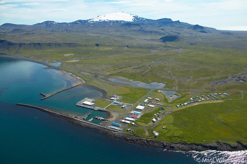 Rifshöfn, Snæfellsbær /..Rif harbour. Snaefellsjokull in background, Snaefellsbaer