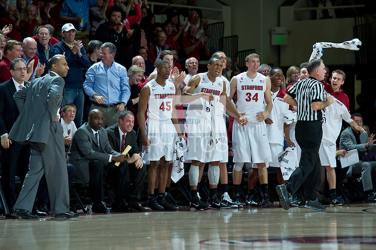 STANFORD, CA - February 3, 2011: Stanford Cardinal team celebrates during Stanford's game with Arizona at Maples Pavilion in Stanford, California.  Arizona won 78-69.