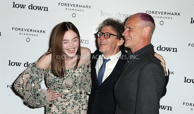 ACEPIXS.COM<br /> <br /> October 23 2014, LA<br /> <br /> Actress Elle Fanning, director Jeff Preiss and musician Flea arriving at the premiere of 'Lowdown' at the ArcLight Hollywood on October 23, 2014 in Hollywood, California<br /> <br /> By Line: Peter West/ACE Pictures<br /> <br /> ACE Pictures, Inc.<br /> www.acepixs.com<br /> Email: info@acepixs.com<br /> Tel: 646 769 0430