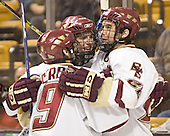 Nathan Gerbe, Brock Bradford, Dan Bertram - The Boston College Eagles defeated the Northeastern University Huskies 5-2 in the opening game of the 2006 Beanpot at TD Banknorth Garden in Boston, MA, on February 6, 2006.