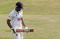 Varun Chopra of Essex departs the field having been bowled during Essex CCC vs Kent CCC, Bob Willis Trophy Cricket at The Cloudfm County Ground on 2nd August 2020