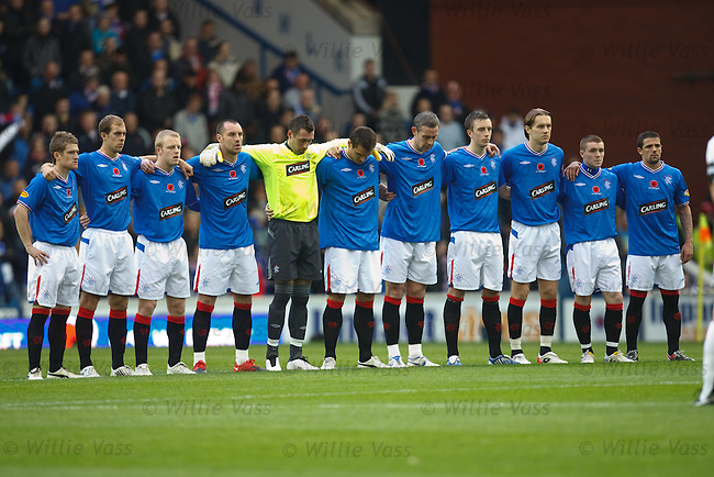 The Rangers squad observe a minutes silence for Remembrance