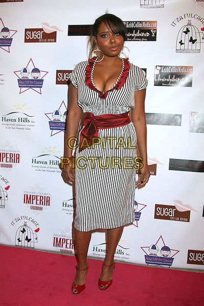 "SHAR JACKSON.""Hats Off For Cancer"" Benefit Party at Sugar Boutique, Hollywood, California, USA..May 9th, 2007.full lengh hoop earrings cleavage black white pinstripe striped stripes red ruffles dress belt .CAP/ADM/BP.©Byron Purvis/AdMedia/Capital Pictures"
