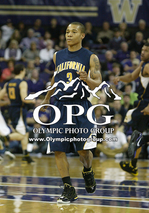 16 January 2010:  California guard #3 Jerome Randle gets back on defense against the Washington Huskies. Washington won 84-69 over California at the Bank of America Arena in Seattle, WA.