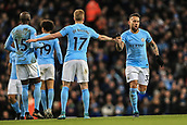 3rd December 2017, Etihad Stadium, Manchester, England; EPL Premier League football, Manchester City versus West Ham United; Nicolas Otamendi of Manchester City celebrates his goal in the 57th minute with Kevin De Bruyne of Manchester City  to make it 1-1
