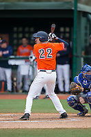 Daniel Pinero (22) of the Virginia Cavaliers at bat against the Seton Hall Pirates at The Ripken Experience on February 28, 2015 in Myrtle Beach, South Carolina.  The Cavaliers defeated the Pirates 4-1.  (Brian Westerholt/Four Seam Images)