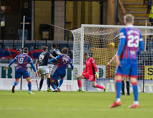 20th January 2018, Dens Park, Dundee, Scotland; Scottish Cup fourth round, Dundee versus Inverness Caledonian Thistle; Inverness Caledonian Thistle's George Oakley scores a late equaliser for 2-2 to force a replay