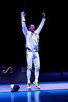 BOGOTA – COLOMBIA – 28 – 05 – 2017: Bogdam Nikishin de Ucrania celebra la victoria sobre Marco Fichera, de Italia, durante la Final de Varones Mayores Epee del Gran Prix de Espada Bogota 2017, que se realiza en el Centro de Alto Rendimiento en Altura, del 26 al 28 de mayo del presente año en la ciudad de Bogota.  / Bogdam Nikishin from Ukraine, celebrate the victory over Marco Fichera from Italy, during the Final Senior Men´s Epee of the Grand Prix of Espada Bogota 2017, that takes place in the Center of High Performance in Height, from the 26 to the 28 of May of the present year in The city of Bogota.  / Photo: VizzorImage / Luis Ramirez / Staff.