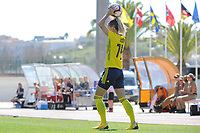 20200307  Lagos , Portugal : Swedish Nathalie Bjorn (14) pictured during the female football game between the national teams of Sweden and Denmark on the second matchday of the Algarve Cup 2020 , a prestigious friendly womensoccer tournament in Portugal , on saturday 7 th March 2020 in Lagos , Portugal . PHOTO SPORTPIX.BE | STIJN AUDOOREN