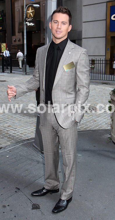 """**ALL ROUND PICTURES FROM SOLARPIX.COM**.**SYNDICATION RIGHTS FOR UK, AUSTRALIA, DENMARK, PORTUGAL, S. AFRICA, SPAIN & DUBAI (U.A.E) ONLY**.Sienna Miller and the Cast of """"G.I. Joe: The Rise of Cobra"""" Ring the Opening Bell at the New York Stock Exchange, New York City, USA. 4 August 2009..This pic: Channing Tatum..JOB REF: 9694 PHZ (Mayer)   DATE: 04_08_2009.**MUST CREDIT SOLARPIX.COM OR DOUBLE FEE WILL BE CHARGED**.**MUST NOTIFY SOLARPIX OF ONLINE USAGE**.**CALL US ON: +34 952 811 768 or LOW RATE FROM UK 0844 617 7637**"""