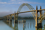 Yaquina Bay Bridge and fog in morning light (type: Arch Bridge / Suspended Deck), Newport, Central Oregon Coast