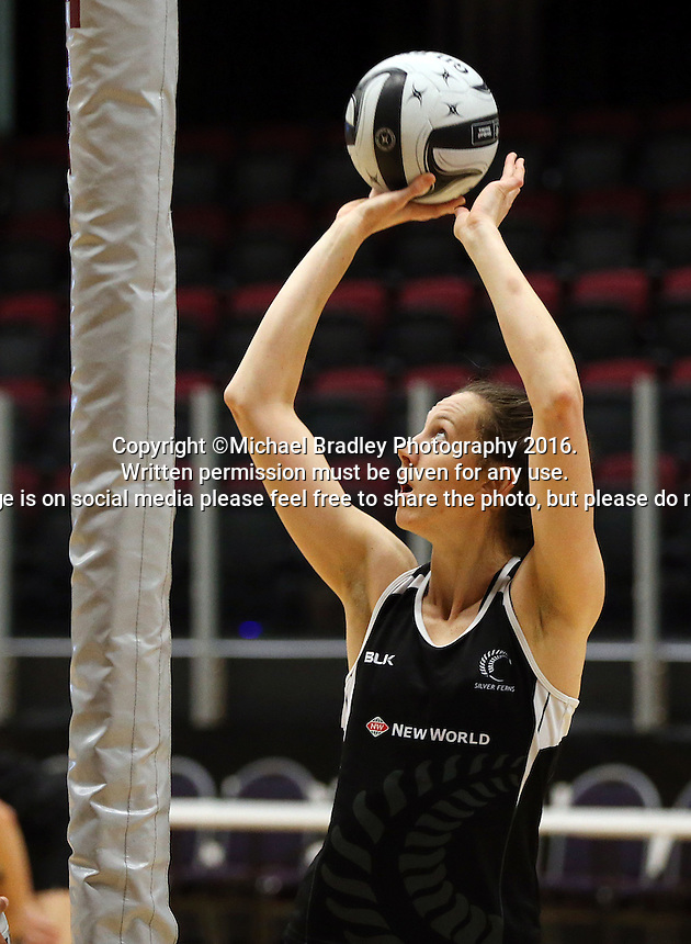 19.10.2016 Silver Ferns Bailey Mes in action during the Silver Ferns Training in Invercargill. Mandatory Photo Credit ©Michael Bradley.