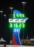 Sept. 16, 2011; Concord, NC, USA: Detailed view of the scoreboard following the run by NHRA funny car driver Matt Hagan (not pictured) during qualifying for the O'Reilly Auto Parts Nationals at zMax Dragway. Hagan became the first funny car driver to break the four second barrier with a time of 3.995. Mandatory Credit: Mark J. Rebilas-