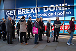 Delegates queueing to hear the Rt. Hon. Boris Johnson MP, leader of the Conservative Party and Prime Minister of the United Kingdom, delivering his keynote speech to the annual party conference in Manchester. The speech focused on a core message of delivering Brexit and honouring the result of the 2016 European referendum. The United Kingdom was due to leave the European Union on the 31st October, 2019.