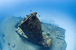 Diving on the shipwreck C55 off the coast of Cancun, Mexico