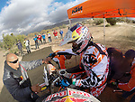 BAJA CALIFORNIA, MEXICO - NOVEMBER 15:  Kurt Casselli gets on bike as Ivan Ramirez of the FMF/Bonanza Plumbing KTM team comes into pit during the 2013 SCORE Baja 1000 on November 15, 2013 in Baja California, Mexico. (Photo by Donald Miralle for ESPN the Magazine) *** Local Caption ***Ivan Ramirez;Kurt Casselli