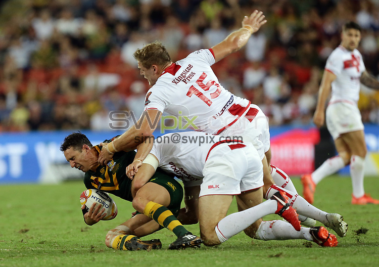 Australia's Valentine Holmes is tackled by England's Thomas Burgess during the Rugby League World Cup final between Australia and England, Suncorp Stadium, Brisbane, Australia, 2 December 2017. Copyright Image: Tertius Pickard / www.photosport.nz MANDATORY CREDIT/BYLINE : SWpix.com/PhotosportNZ