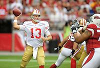Sept. 13, 2009; Glendale, AZ, USA; San Francisco 49ers quarterback (13) Shaun Hill throws a pass in the second quarter against the Arizona Cardinals at University of Phoenix Stadium. Mandatory Credit: Mark J. Rebilas-