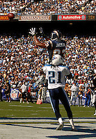 Sept. 17, 2006; San Diego, CA, USA; San Diego Chargers wide receiver (83) Vincent Jackson leaps over Tennessee Titans cornerback (21) Reynaldo Hill to score a touchdown at Qualcomm Stadium in San Diego, CA. Mandatory Credit: Mark J. Rebilas