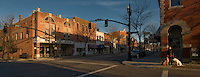 Early morning and sunrise on a street in Uptown Westerville, Ohio
