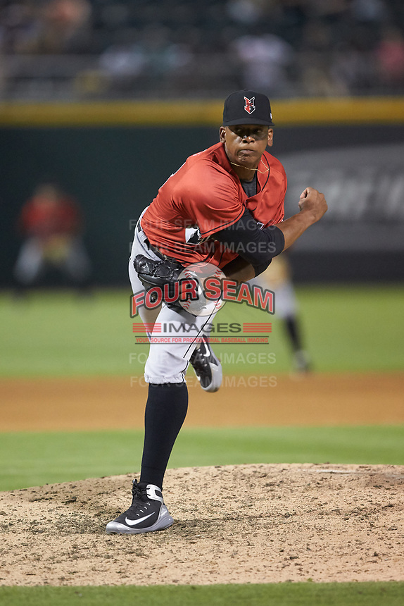 Indianapolis Indians relief pitcher Jesus Liranzo (48) follows through on his delivery against the Charlotte Knights at BB&T BallPark on May 26, 2018 in Charlotte, North Carolina. The Indians defeated the Knights 6-2.  (Brian Westerholt/Four Seam Images)
