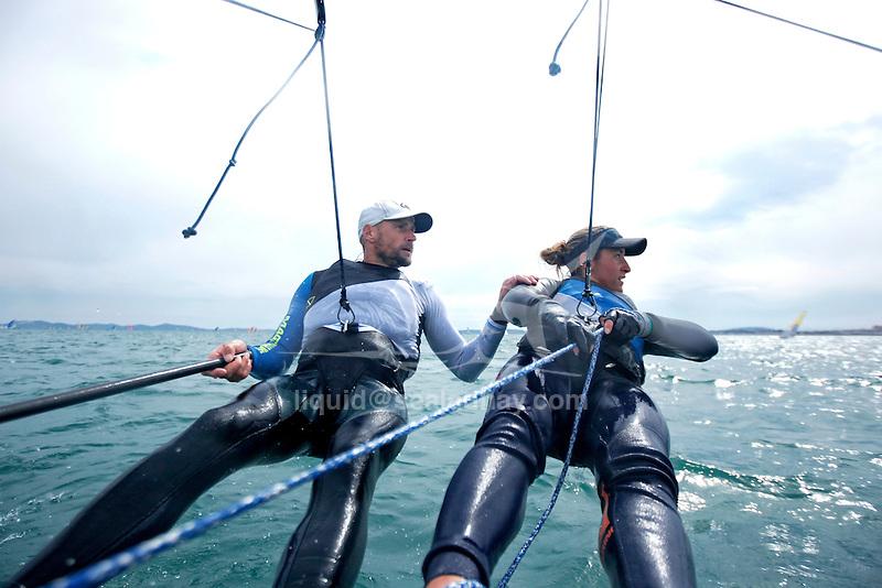 ISAF Sailing World Cup Hyères - Fédération Française de Voile. Nacra17, Moana Vaireaux<br /> Manon Audinet.w