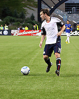 New England Revolution forward Zack Schilawski (15) prepares to pass the ball.  Brazil's Cruzeiro beat the New England Revolution, 3-0 in a friendly match at Gillette Stadium on June 13, 2010
