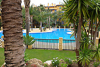 Swimming pool, apartment complex, Los Jazmines, San Pedro de Alcantara, Marbella, Spain, April, 2016, 201604192453<br />