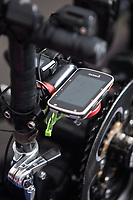 Morehead City, NC -- A GPS mounted on Paul Kelly's bike. Quadriplegic hand cyclist Paul Kelly, 62, trains for the Boston Marathon Tuesday, March 27, 2018. (Justin Cook for The Wall Street Journal)<br /> <br /> SUMMARY:<br /> <br /> Paul Kelly, hand cyclist, Beaufort, NC Training for the Boston Marathon so we would want to shoot in March to run the week before the marathon or marathon Monday, Apriln16. Life as a quadriplegic doesn&rsquo;t keep 62-year-old Paul Kelly on the sidelines. After breaking his neck in a swimming accident in 1978, Kelly was determined to find fitness activities to maintain an active lifestyle. He discovered handcycles while watching his niece compete in the 2006 Marine Corps Marathon and was inspired to start his own marathon career to stay fit. Paul has competed in over 100 half and full marathons. On April 16, he will celebrate his 40th year of living as a quadriplegic by taking on one of the most coveted races for a marathoner -- the Boston Marathon. Kelly is among the 60 handcyclists competing in the 2018 Boston Marathon with a qualifying time of 1:26:37. Most of Paul&rsquo;s distance training takes place at Bogue Banks, which includes Atlantic Beach, Salter Path, and Emerald Isle, N.C. It&rsquo;s Nicholas Sparks worthy scenery with its marshes, waterways, inlets and small islands. Paul is particularly fond of the approach from Atlantic Beach to Bogue Banks -- it&rsquo;s via the high-rise bridge. In cold weather, Paul has to be mindful of the environment and dress in a manner that insulates his legs while also allowing his upper body to ventilate. Paul chooses to train at times of day when the temperatures are more reasonable. He uses hand warmers in his gloves, on the inside the grips on his handcycle and in the legs of his trousers.