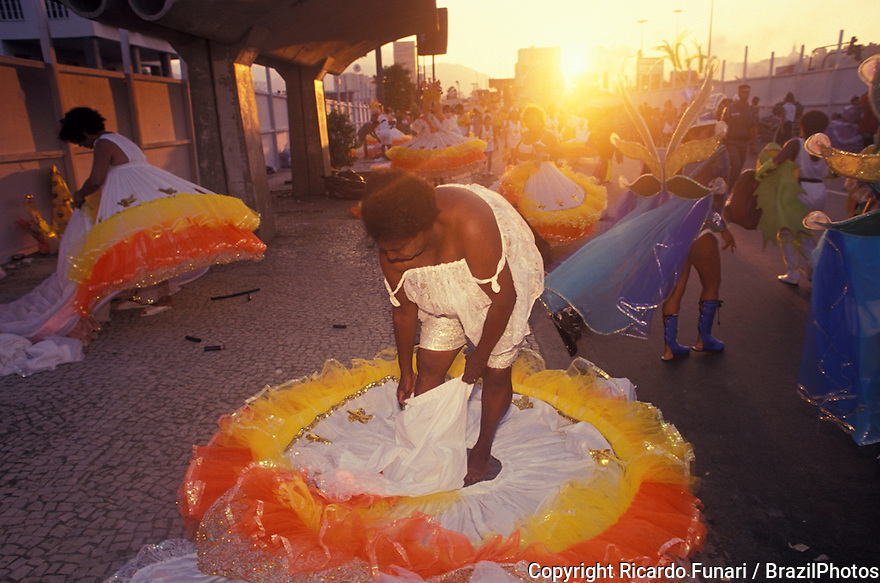 "Preparation for the Samba Schools Parade in Sambodromo, Rio de Janeiro Carnival, Brazil - members of the ""ala das Baianas"", the traditional segment of Bahian African-Brazilian ladies with impressive round dresses spinning through the avenue."
