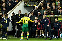 1st December 2019; Carrow Road, Norwich, Norfolk, England, English Premier League Football, Norwich versus Arsenal; Arsenal Caretaker Manager Fredrik Ljungberg walks out of the technical area as Todd Cantwell of Norwich City appeals for a decision - Strictly Editorial Use Only. No use with unauthorized audio, video, data, fixture lists, club/league logos or 'live' services. Online in-match use limited to 120 images, no video emulation. No use in betting, games or single club/league/player publications