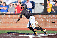 Bristol Pirates Yoyner Fajardo (18) swings at a pitch during game two of the Appalachian League, West Division Playoffs against the Johnson City Cardinals at TVA Credit Union Ballpark on August 31, 2019 in Johnson City, Tennessee. The Cardinals defeated the Pirates 7-4 to even the series at 1-1. (Tony Farlow/Four Seam Images)