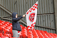 A young Fleetwood Town FC fan with a flag during the Sky Bet League 1 match between Charlton Athletic and Fleetwood Town at The Valley, London, England on 17 March 2018. Photo by Carlton Myrie.