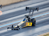 Jul 22, 2017; Morrison, CO, USA; NHRA top fuel driver Tony Schumacher damages his chassis as he lands from a wheelstand during qualifying for the Mile High Nationals at Bandimere Speedway. Mandatory Credit: Mark J. Rebilas-USA TODAY Sports