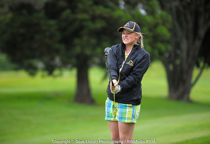 Emmalee Morrell (BoP) watches her approach shot to the 8th green. 2016 Toro Women's Interprovincial Golf Championship at Westown Golf Club in New Plymouth, New Zealand on Saturday, 10 December 2016. Photo: Dave Lintott / lintottphoto.co.nz