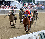 ELMONT, NY - JUNE 09: Justify  #1, ridden by Mike Smith, wins the 150th running of the Belmont Stakes on Belmont Stakes Day at Belmont Park on June 9, 2018 in Elmont, New York. (Photo by Bob Mayberger/Eclipse Sportswire/Getty Images)