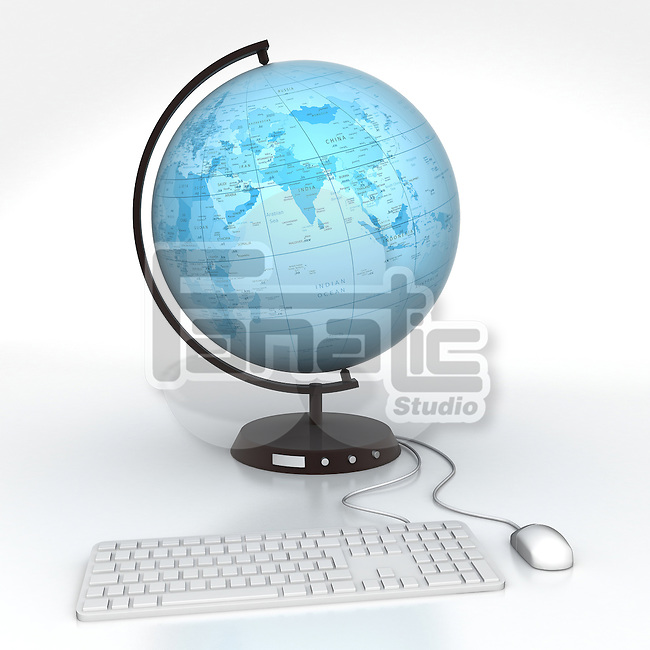 Conceptual image of desktop globe attached to computer keyboard and mouse depicting global communications