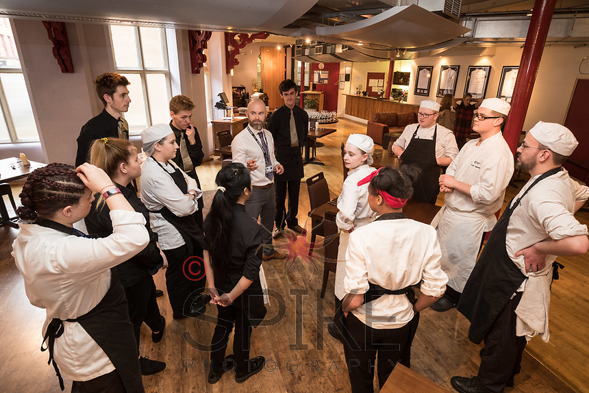 The Ruddington Arms Takeover Evening at the Adams Restaurant, Nottingham, featured Mark Anderson and some of his staff help students prepare a delicous tasting menu of fine small plates matched with cocktails. Pictured is Chris Stamp, restaurant manager briefing the students