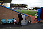 Burnley 1 West Ham United 3, 18/10/2014. Turf Moor, Premier League. Security staff watching the second-half action as Burnley take on West Ham United in an English Premier League match at Turf Moor. The fixture was won by the visitors by three goals to one watched by 18,936 spectators. The defeat meant that Burnley still had not won a league match since being promoted from the Championship the previous season. Photo by Colin McPherson.