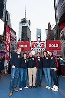 ESPN analyst and former men's national team defender Alexi Lalas, former women's national team player April Heinrichs, former men's national team player Walter Bahr, former men's national team player Cobi Jones, former women's national team player Michelle Akers, and U.S. women national team midfielder Carli Lloyd pose for a photo during the centennial celebration of U. S. Soccer at Times Square in New York, NY, on April 04, 2013.