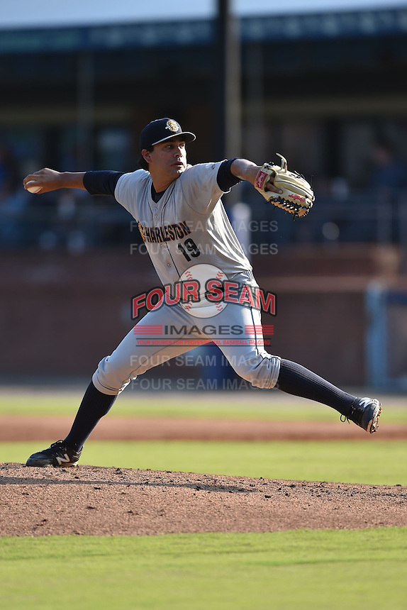 Charleston RiverDogs starting pitcher Gabe Encinas #19 delivers a pitch during a game against the Asheville Tourists at McCormick Field July 26, 2014 in Asheville, North Carolina. The RiverDogs defeated the Tourists 8-7. (Tony Farlow/Four Seam Images)