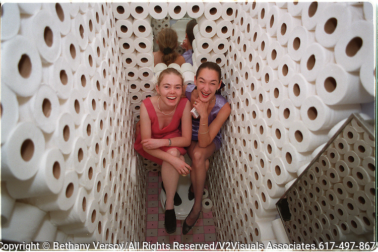 Charlotta Westergren of Jamaica Plain, left, and Sheila Gallagher also of Jamaica Plain sit in their installation artwork at the Crieger-Dane Gallery on Newbury Street in Boston. The two women are members of the Chimpanzee Chicks art group.RESTRICTED USE.NOT FOR REPBULICATION WITHOUT EXPLICIT APPROVAL FROM DIRECTOR OF PHOTOGRAPHY