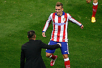 Atletico de Madrid´s Griezmann celebrates a goal with Diego Pablo Simeone during Champions League soccer match between Atletico de Madrid and Malmo at Vicente Calderon stadium in Madrid, Spain. October 22, 2014. (ALTERPHOTOS/Victor Blanco)