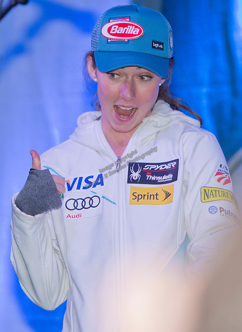 Mikaela Shiffrin during the Olympic Homecoming  Celebration at Squaw Valley on Friday night, March 21, 2014.