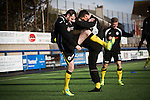Edinburgh City teammates Craig Beattie (left) and Craig Beattie go through their pre-match warm-up at Links Park. It was Edinburgh City's first Scottish League visit to Montrose since the club were promoted from the Lowland League the previous season. City won the match 1-0 to record their first league win of the season, captain Dougie Gair scoring the winner from the penalty spot in the 68th minute in a match watched by 388 spectators.