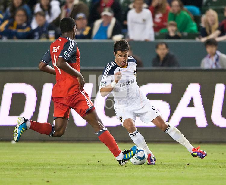 CARSON, CA – June 11, 2011: LA Galaxy forward Juan Pablo Angel (9) during the match between LA Galaxy and Toronto FC at the Home Depot Center in Carson, California. Final score LA Galaxy 2, Toronto FC 2.